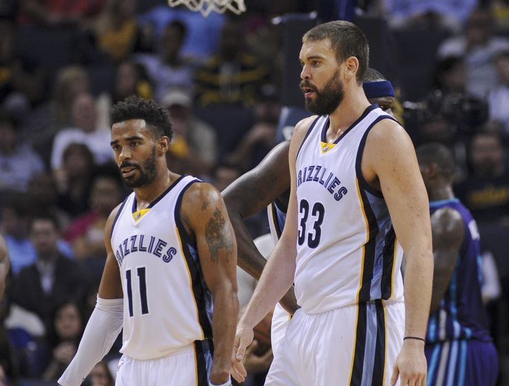 Dec 11, 2015; Memphis, TN, USA; Memphis Grizzlies guard Mike Conley (11) and center Marc Gasol (33) look on during the second half against the Charlotte Hornets at FedExForum. The Hornets won 123-99. Mandatory Credit: Justin Ford-USA TODAY Sports