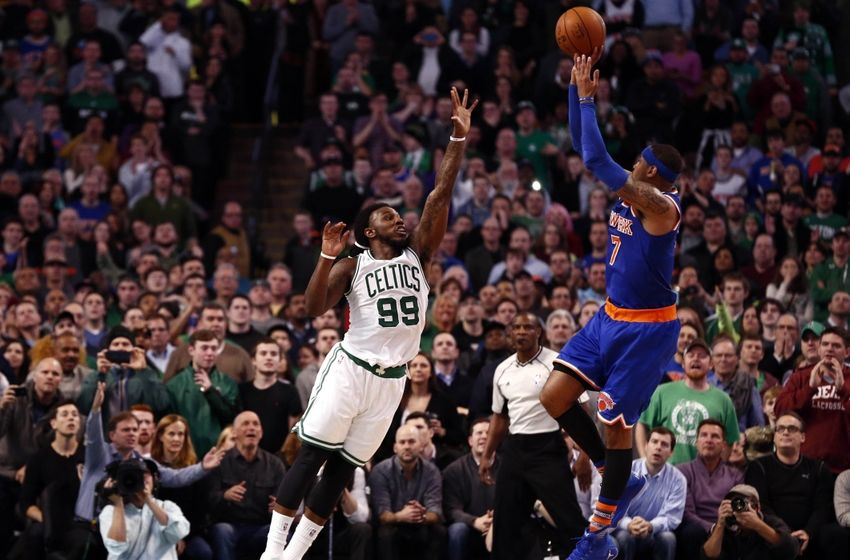 New York Knicks forward Carmelo Anthony (7) hits a go-ahead shot against Boston Celtics forward Jae Crowder (99) during the closing seconds of the second half at TD Garden. The Celtics would defeat the Knicks 105-104. Mandatory Credit: Mark L. Baer-USA TODAY Sports