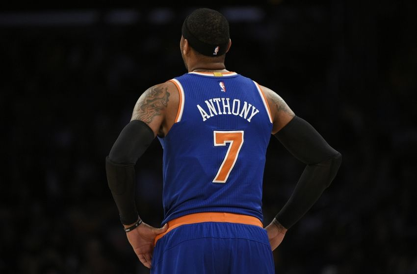 New York Knicks forward Carmelo Anthony (7) looks up during a break in play during the first quarter against the Los Angeles Lakers at Staples Center. Mandatory Credit: Kelvin Kuo-USA TODAY Sports