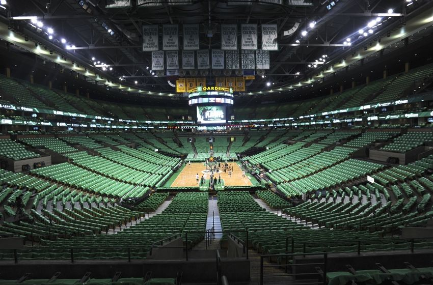 Apr 24, 2016; Boston, MA, USA; A general view of TD Garden prior to the first round of the NBA Playoffs between the Boston Celtics and Atlanta Hawks. Mandatory Credit: Bob DeChiara-USA TODAY Sports