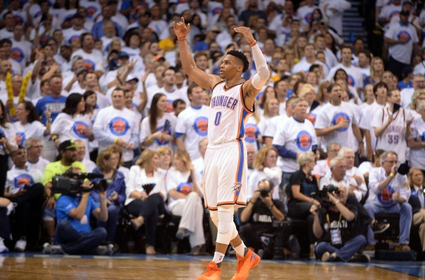 May 24, 2016; Oklahoma City, OK, USA; Oklahoma City Thunder guard Russell Westbrook (0) reacts after a play against the Golden State Warriors during the third quarter in game four of the Western conference finals of the NBA Playoffs at Chesapeake Energy Arena. Mandatory Credit: Mark D. Smith-USA TODAY Sports