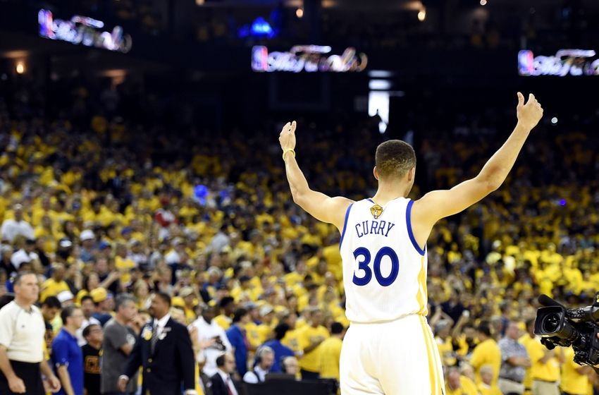 Jun 19, 2016; Oakland, CA, USA; Golden State Warriors guard Stephen Curry (30) reacts before game seven of the NBA Finals against the Cleveland Cavaliers at Oracle Arena. Mandatory Credit: Bob Donnan-USA TODAY Sports