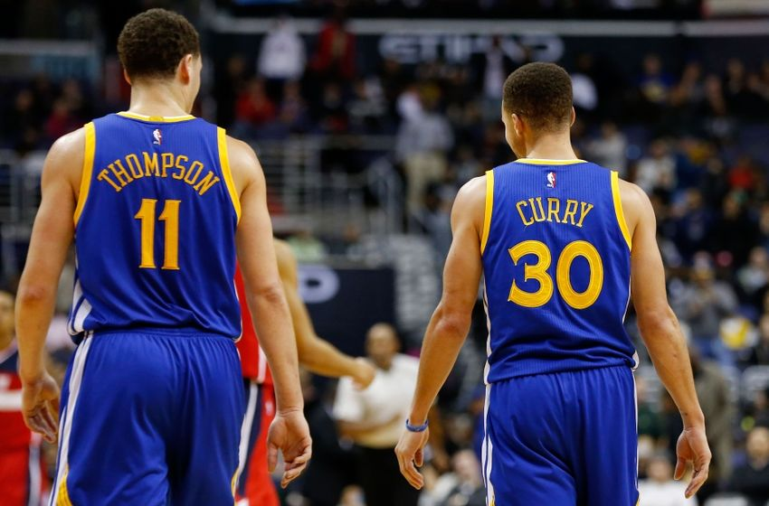Feb 3, 2016; Washington, DC, USA; Golden State Warriors guard Klay Thompson (11) and Warriors guard Stephen Curry (30) stand on the court against the Washington Wizards at Verizon Center. Mandatory Credit: Geoff Burke-USA TODAY Sports