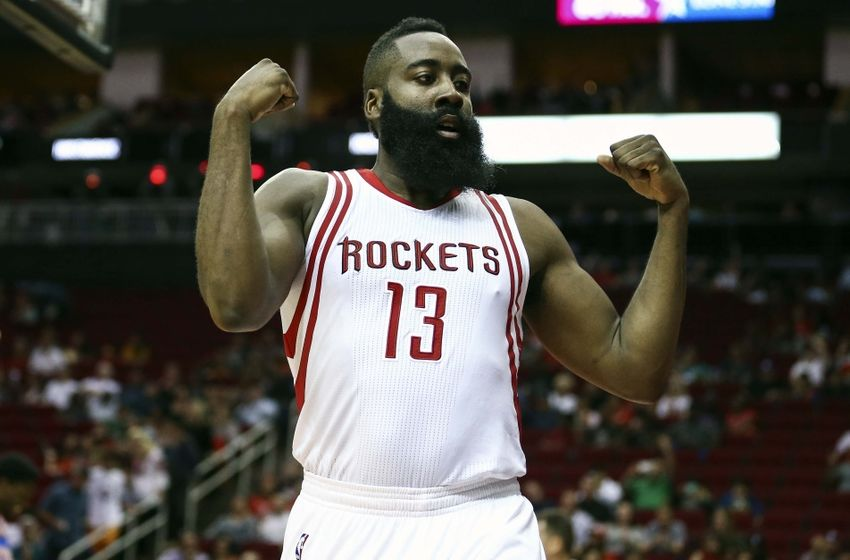 Oct 4, 2016; Houston, TX, USA; Houston Rockets guard James Harden (13) reacts after a play during the second quarter against the New York Knicks at Toyota Center. Mandatory Credit: Troy Taormina-USA TODAY Sports
