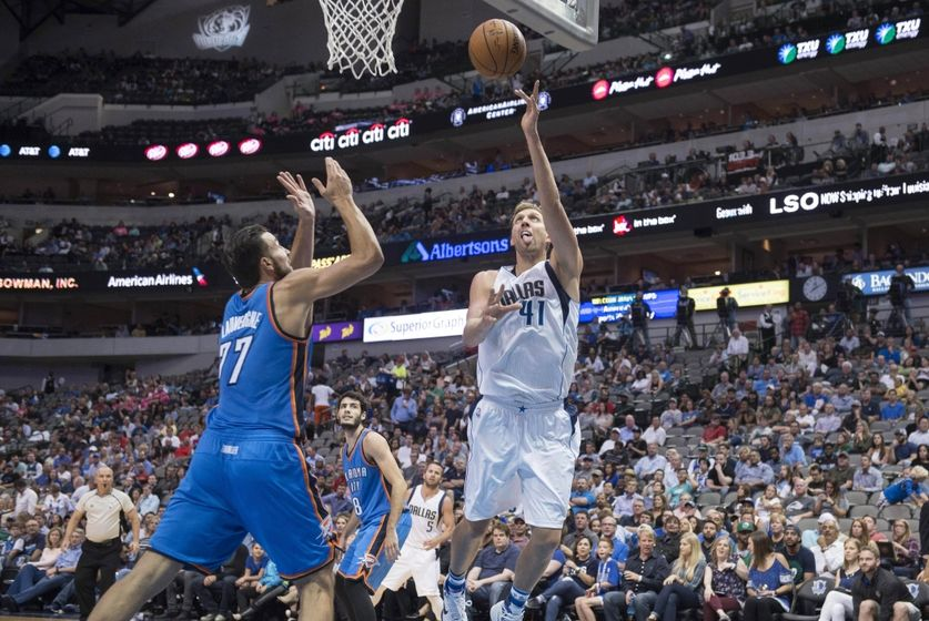Oct 11, 2016; Dallas, TX, USA; Dallas Mavericks forward Dirk Nowitzki (41) drives to the basket against the Oklahoma City Thunder during the first half at the American Airlines Center. Mandatory Credit: Jerome Miron-USA TODAY Sports