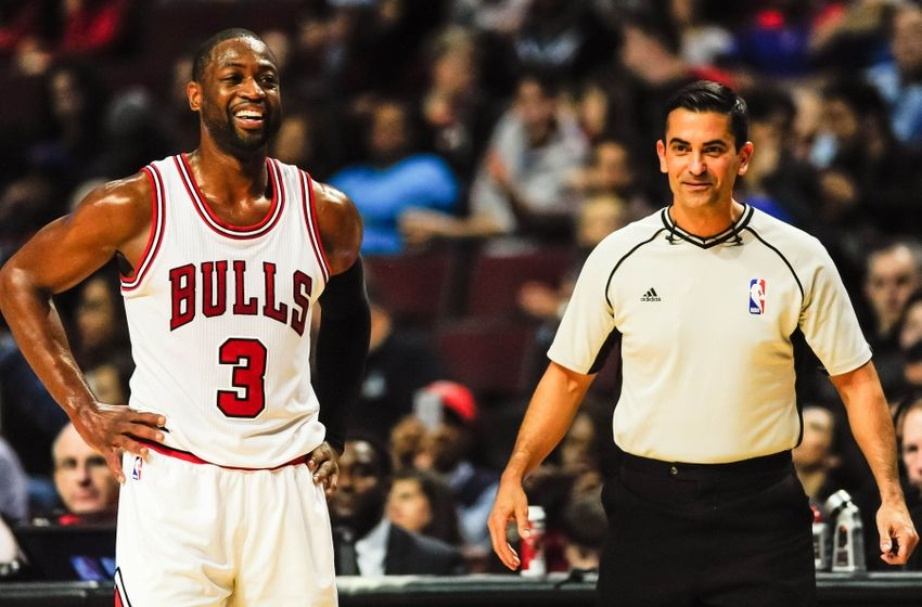 Oct 29, 2016; Chicago, IL, USA; Chicago Bulls guard Dwyane Wade (3) talks with referee Mark Lindsay (29) during the first half against the Indiana Pacers at United Center. Mandatory Credit: Jeffrey Becker-USA TODAY Sports
