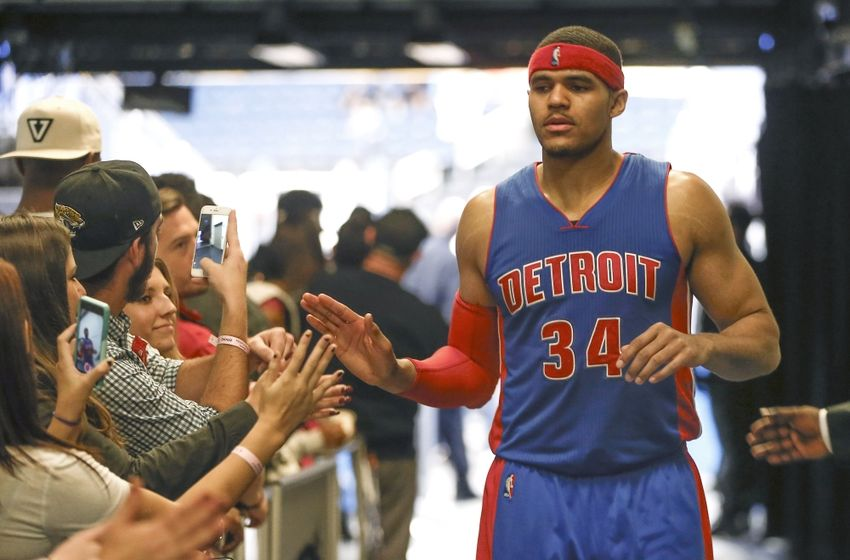 Apr 6, 2016; Orlando, FL, USA; Detroit Pistons forward Tobias Harris (34) greets fans in the locker room tunnel against the Orlando Magic after a basketball game at Amway Center. The Pistons won 108-104. Mandatory Credit: Reinhold Matay-USA TODAY Sports