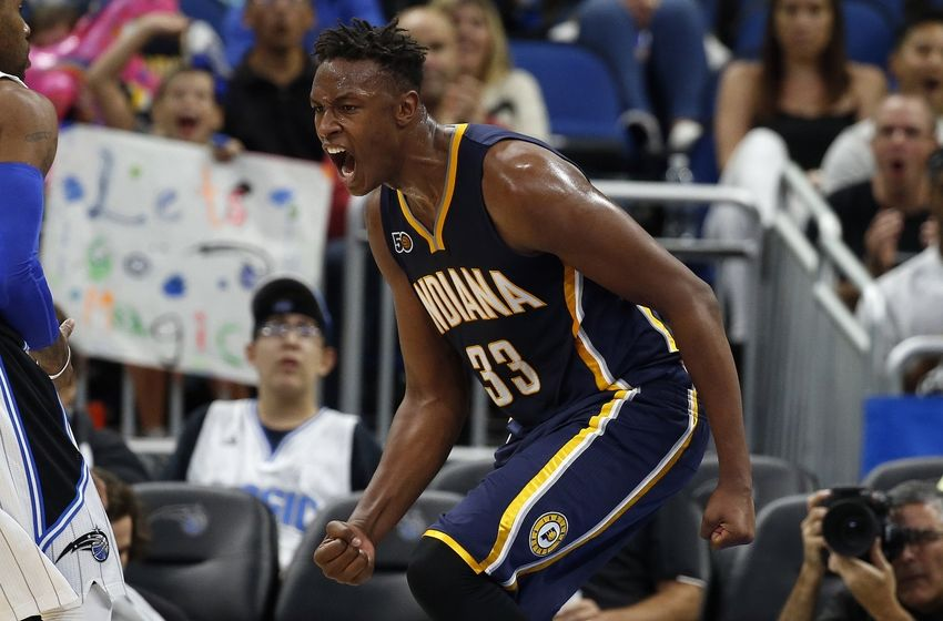 Oct 14, 2016; Orlando, FL, USA; Indiana Pacers forward Myles Turner (33) celebrates after he dunks against the Orlando Magic during the second half at Amway Center. Orlando Magic defeated the Indiana Pacers 114-106. Mandatory Credit: Kim Klement-USA TODAY Sports
