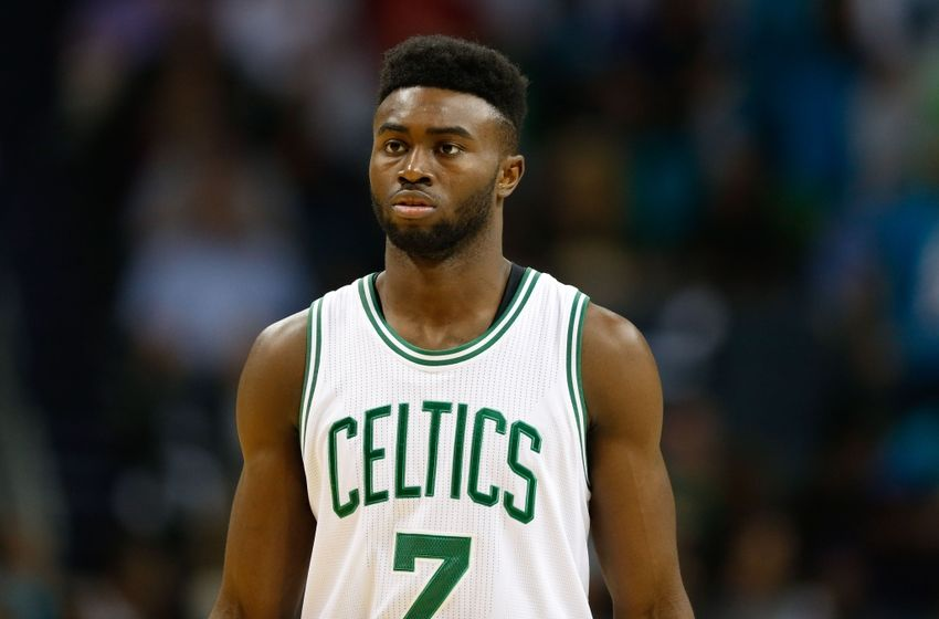 Oct 29, 2016; Charlotte, NC, USA; Boston Celtics forward Jaylen Brown (7) stands on the court in the second half against the Charlotte Hornets at the Spectrum Center. The Celtics defeated the Hornets 104-98. Mandatory Credit: Jeremy Brevard-USA TODAY Sports