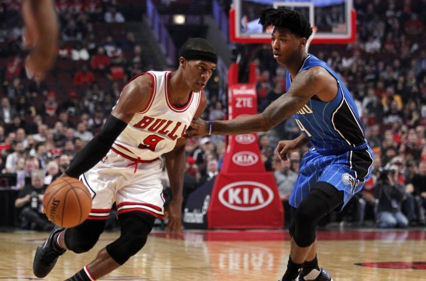 Nov 7, 2016; Chicago, IL, USA; Chicago Bulls guard Rajon Rondo (9) is defended by Orlando Magic guard Elfrid Payton (4) during the first quarter of the game at United Center. Mandatory Credit: Caylor Arnold-USA TODAY Sports