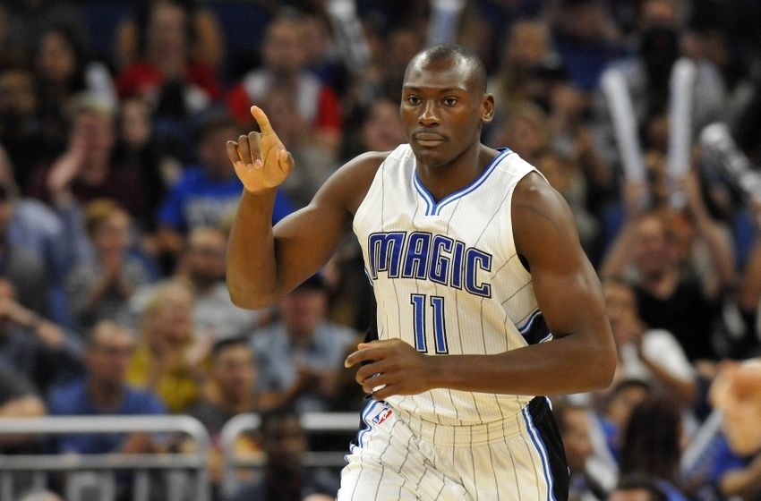 Nov 11, 2016; Orlando, FL, USA; Orlando Magic center Bismack Biyombo (11) points after he makes a basket against the Utah Jazz during the second half at Amway Center. Utah Jazz defeated the Orlando Magic 87-74. Mandatory Credit: Kim Klement-USA TODAY Sports
