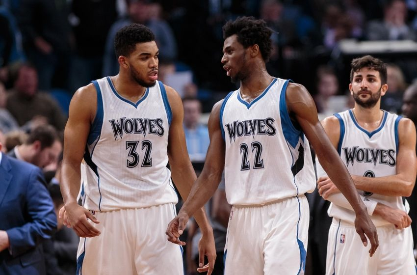 Nov 13, 2016; Minneapolis, MN, USA; Minnesota Timberwolves center Karl-Anthony Towns (32) and guard Andrew Wiggins (22) in the fourth quarter against the Los Angeles Lakers at Target Center. The Minnesota Timberwolves beat the Los Angeles Lakers 125-99. Mandatory Credit: Brad Rempel-USA TODAY Sports