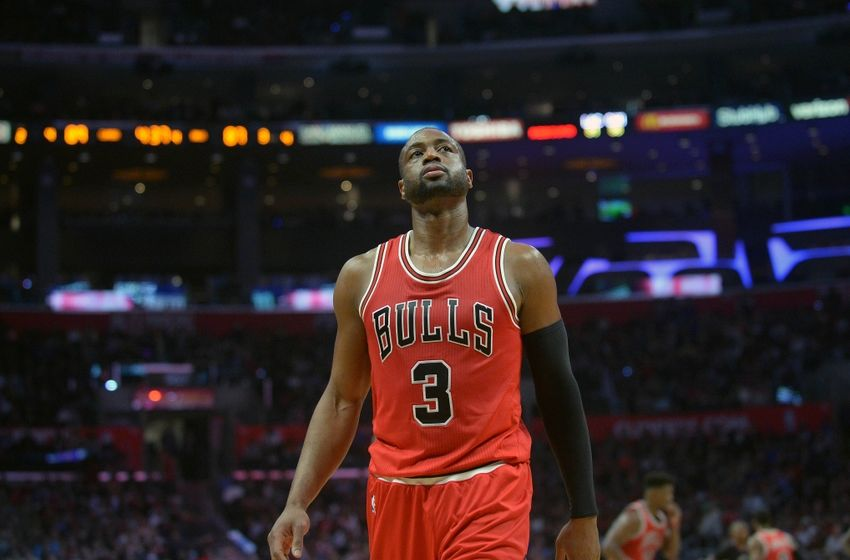 November 19, 2016; Los Angeles, CA, USA; Chicago Bulls guard Dwyane Wade (3) during a stoppage in play against the Los Angeles Clippers during the second half at Staples Center. Mandatory Credit: Gary A. Vasquez-USA TODAY Sports