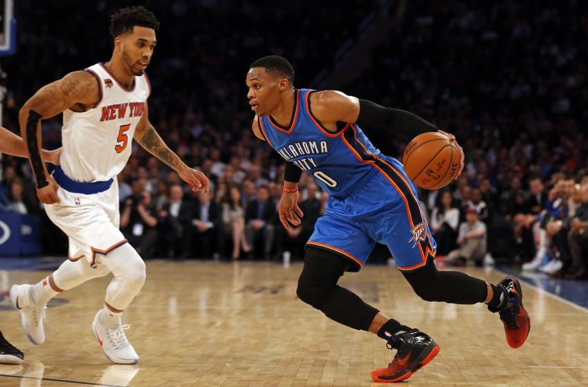 Nov 28, 2016; New York, NY, USA; Oklahoma City Thunder guard Russell Westbrook (0) drives to the basket past New York Knicks guard Courtney Lee (5) during the first half at Madison Square Garden. Mandatory Credit: Adam Hunger-USA TODAY Sports