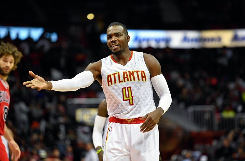 Nov 9, 2016; Atlanta, GA, USA; Atlanta Hawks forward Paul Millsap (4) reacts to a play against the Chicago Bulls during the second half at Philips Arena. The Hawks defeated the Bulls 115-107. Mandatory Credit: Dale Zanine-USA TODAY Sports