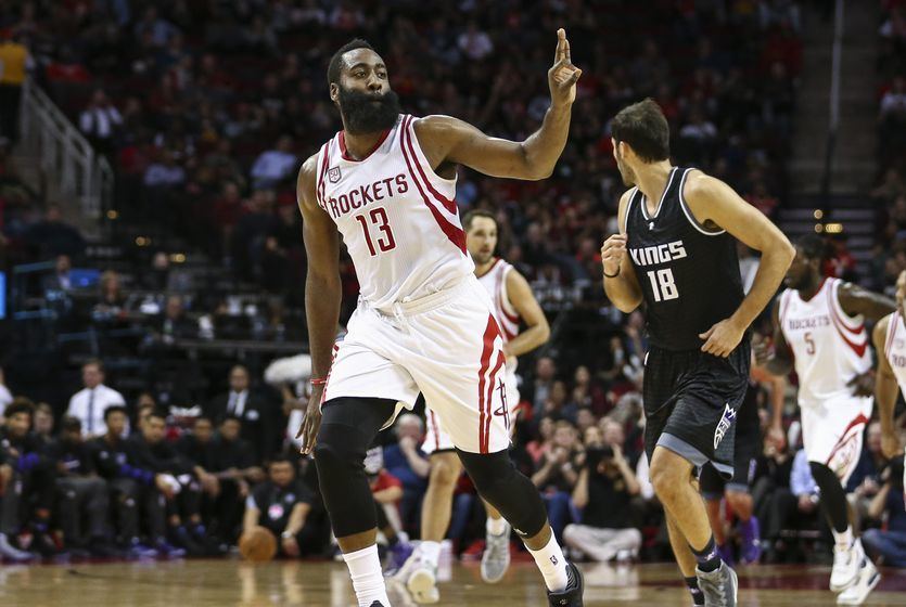Dec 14, 2016; Houston, TX, USA; Houston Rockets guard James Harden (13) celebrates after making a three point basket during the third quarter against the Sacramento Kings at Toyota Center. Mandatory Credit: Troy Taormina-USA TODAY Sports
