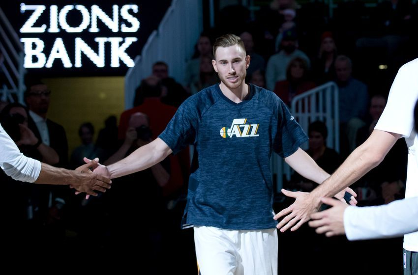 Dec 14, 2016; Salt Lake City, UT, USA; Utah Jazz forward Gordon Hayward (20) is introduced prior to the game against the Oklahoma City Thunder at Vivint Smart Home Arena. The Jazz won 109-89. Mandatory Credit: Russ Isabella-USA TODAY Sports