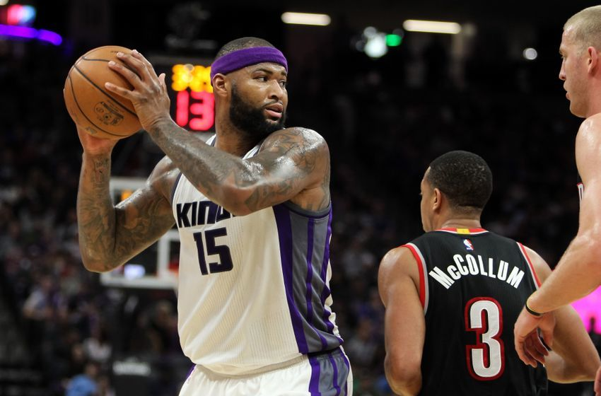 Dec 20, 2016; Sacramento, CA, USA; Sacramento Kings forward DeMarcus Cousins (15) looks to pass against Portland Trail Blazers center Mason Plumlee (24) during the third quarter at Golden 1 Center. The Kings defeated the Blazers 126-121. Mandatory Credit: Sergio Estrada-USA TODAY Sports