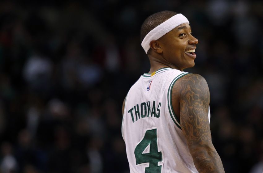 Dec 30, 2016; Boston, MA, USA; Boston Celtics guard Isaiah Thomas (4) smiles during the second half against the Miami Heat at TD Garden. Mandatory Credit: Winslow Townson-USA TODAY Sports