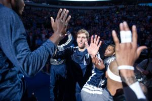Mar 21, 2014; Dallas, TX, USA;Dallas Mavericks forward Dirk Nowitzki (41) is introduced before the game against the against the Denver Nuggets at the American Airlines Center. Mandatory Credit: Jerome Miron-USA TODAY Sports