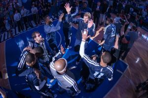 Apr 12, 2014; Dallas, TX, USA; Dallas Mavericks forward Dirk Nowitzki (41) is introduced before the game against the Phoenix Suns at the American Airlines Center. The Mavericks defeated the Suns 101-98 and clinched a spot in the NBA playoffs. Mandatory Credit: Jerome Miron-USA TODAY Sports