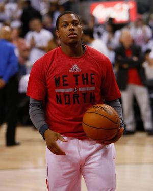 May 4, 2014; Toronto, Ontario, CAN; Toronto Raptors guard Kyle Lowry (7) during the warm up against the Brooklyn Nets prior to game seven of the first round of the 2014 NBA Playoffs at the Air Canada Centre. Brooklyn defeated Toronto 104-103. Mandatory Credit: John E. Sokolowski-USA TODAY Sports