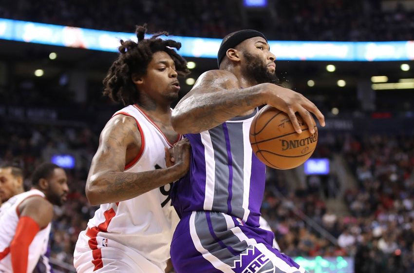 Nov 6, 2016; Toronto, Ontario, CAN; Sacramento Kings center DeMarcus Cousins (15) makes a move to the basket against Toronto Raptors center Lucas Nogueira (92) at Air Canada Centre. The Kings beat the Raptors 96-91. Mandatory Credit: Tom Szczerbowski-USA TODAY Sports