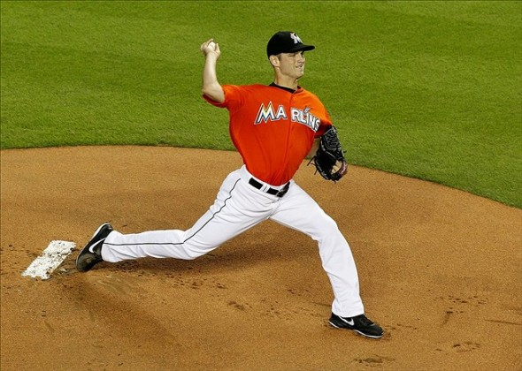 Sep 8, 2013; Miami, FL, USA; Miami Marlins starting pitcher Jacob Turner (33) throws the ball in the first inning against the Washington Nationals at Marlins Park. Mandatory Credit: Robert Mayer-USA TODAY Sports