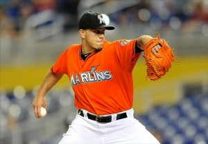 Sep 11, 2013; Miami, FL, USA; Miami Marlins starting pitcher Jose Fernandez (16) delivers a pitch during the first inning against the Atlanta Braves at Marlins Park. Mandatory Credit: Steve Mitchell-USA TODAY Sports