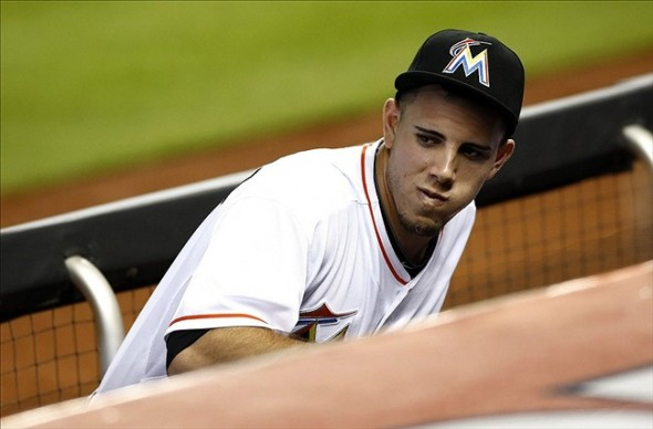 Sep 12, 2013; Miami, FL, USA; Miami Marlins starting pitcher Jose Fernandez in the dugout during a game against the Atlanta Braves at Marlins Park. The Braves won 6-1. Mandatory Credit: Robert Mayer-USA TODAY Sports