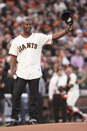 Oct 7, 2012; San Francisco, CA, USA; 2010 World Series MVP for the San Francisco Giants who retired as a Cincinnati Reds player Edgar Renteria prepares to throw out the first pitch before game two of the 2012 NLDS at AT