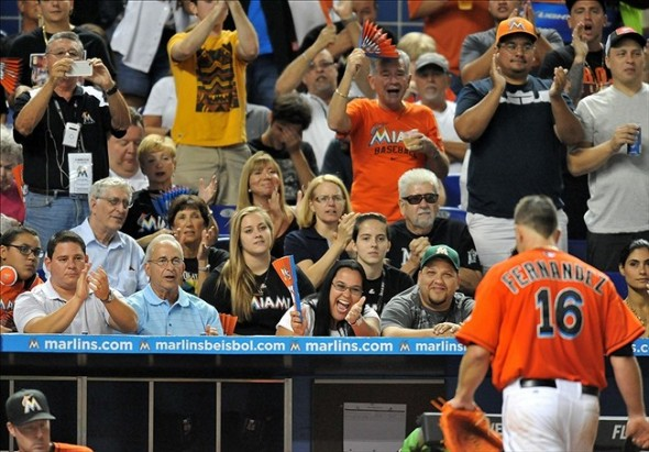 Sep 11, 2013; Miami, FL, USA; Miami Marlins starting pitcher Jose Fernandez (16) receives a standing ovation during the fourth inning against the Atlanta Braves at Marlins Park. Mandatory Credit: Steve Mitchell-USA TODAY Sports