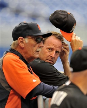 Sep 27, 2013; Miami, FL, USA; Miami Marlins manager Mike Redmond (right) talks with Detroit Tigers manager Jim Leyland (left) before their game at Marlins Park. Mandatory Credit: Steve Mitchell-USA TODAY Sports