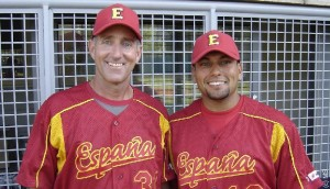 Manny Olivera (on right) has been named as a new pitching development coach for the Miami Marlins. He is seen here as a member of Team España