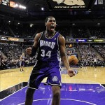February 9, 2013; Sacramento, CA, USA; Sacramento Kings power forward Jason Thompson (34) celebrates after dunking the ball against the Utah Jazz during the fourth quarter at Sleep Train Arena. The Kings defeated the Jazz 120-109. Mandatory Credit: Kyle Terada-USA TODAY Sports