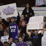 February 9, 2013; Sacramento, CA, USA; Sacramento Kings fans hold up signs against the Maloof