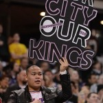 February 9, 2013; Sacramento, CA, USA; A Sacramento Kings fan holds up sign against the Maloof