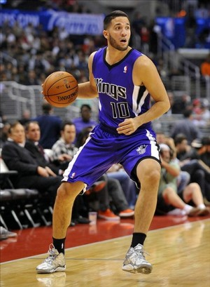 October 25, 2013; Los Angeles, CA, USA; Sacramento Kings point guard Greivis Vasquez (10) controls the ball against the Los Angeles Clippers during the first half at Staples Center. Mandatory Credit: Gary A. Vasquez-USA TODAY Sports