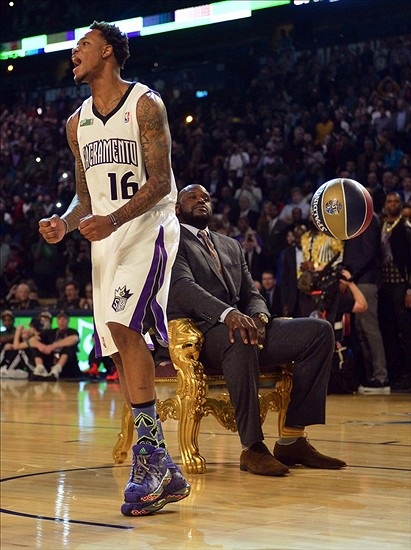 Feb 15, 2014; New Orleans, LA, USA; Sacramento Kings forward Ben McLemore (16) reacts after dunking over Shaquille O