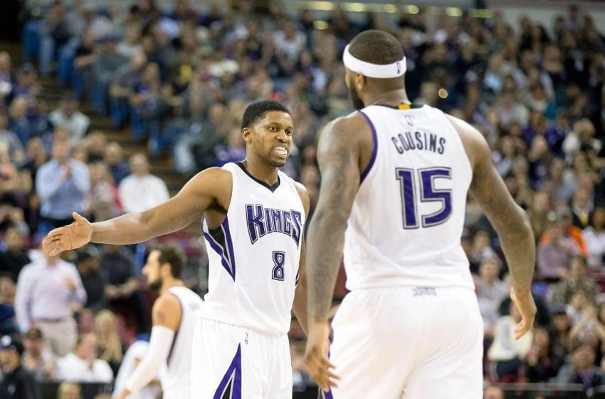 Nov 11, 2015; Sacramento, CA, USA; Sacramento Kings forward Rudy Gay (8) high fives forward DeMarcus Cousins (15) as a timeout is called after a play against the Detroit Pistons during the third quarter at Sleep Train Arena. The Sacramento Kings defeated the Detroit Pistons 101-92. Mandatory Credit: Kelley L Cox-USA TODAY Sports