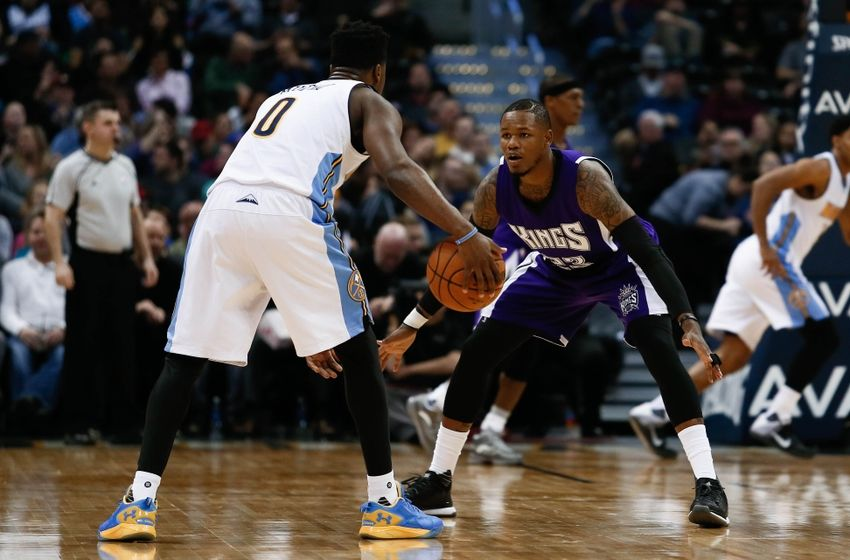 Feb 23, 2016; Denver, CO, USA; Sacramento Kings guard Ben McLemore (23) guards Denver Nuggets guard Emmanuel Mudiay (0) in the third quarter at the Pepsi Center. Mandatory Credit: Isaiah J. Downing-USA TODAY Sports