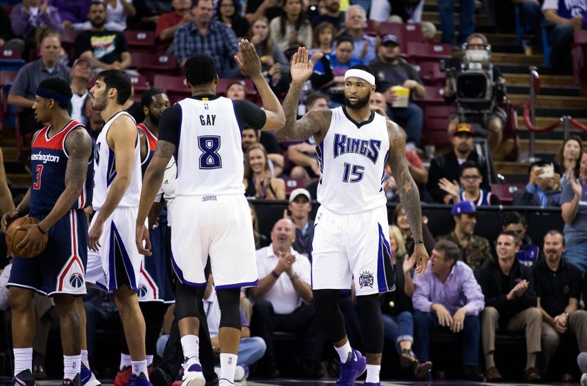 Mar 30, 2016; Sacramento, CA, USA; Sacramento Kings center DeMarcus Cousins (15) high fives forward Rudy Gay (8) after a basket against the Washington Wizards during the second quarter at Sleep Train Arena. Mandatory Credit: Kelley L Cox-USA TODAY Sports