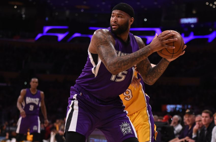 Mar 15, 2016; Los Angeles, CA, USA; Sacramento Kings center DeMarcus Cousins (15) during an NBA game against the Los Angeles Lakers at Staples Center. The Kings defeated the Lakers 106-98. Mandatory Credit: Kirby Lee-USA TODAY Sports