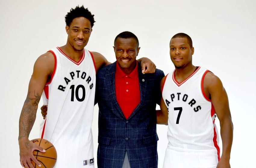 Sep 26, 2016; Toronto, Ontario, Canada; Toronto Raptors head coach Dwane Casey poses with guards DeMar DeRozan (10) and Kyle Lowry (7) during media day at BioSteel Centre. Mandatory Credit: Dan Hamilton-USA TODAY Sports
