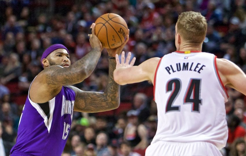 Jan 26, 2016; Portland, OR, USA; Sacramento Kings center DeMarcus Cousins (15) shoots over Portland Trail Blazers center Mason Plumlee (24) during the first quarter at the Moda Center. Mandatory Credit: Craig Mitchelldyer-USA TODAY Sports