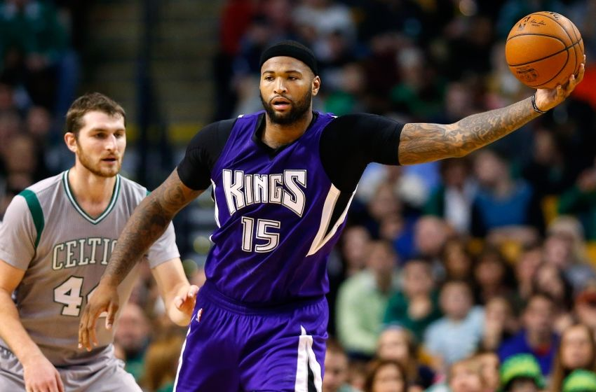 Feb 7, 2016; Boston, MA, USA; Sacramento Kings center DeMarcus Cousins (15) during the first half against the Boston Celtics at TD Garden. Mandatory Credit: Winslow Townson-USA TODAY Sports