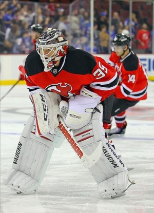 Sep 16, 2013; Newark, NJ, USA; New Jersey Devils goalie Cory Schneider (35) during pre-game warmups at Prudential Center. Mandatory Credit: Ed Mulholland-USA TODAY Sports