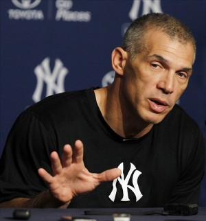 Sep 22, 2013; Bronx, NY, USA; New York Yankees manager Joe Girardi talks about closing pitcher Mariano Rivera at a press conference before the game against the San Francisco Giants at Yankee Stadium. Mandatory Credit: Noah K. Murray-USA TODAY Sports
