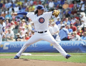 Aug 30, 2013; Chicago, IL, USA; Chicago Cubs starting pitcher Jeff Samardzija (29) pitches against the Philadelphia Phillies during the first inning at Wrigley Field. Mandatory Credit: David Banks-USA TODAY Sports