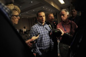 Dec 12, 2013; Orlando, FL, USA; Chicago Cubs general manager Jed Hoyer talks with reporters after the Rule 5 Draft during the MLB Winter Meetings at the Walt Disney World Swan and Dolphin Resort. Mandatory Credit: David Manning-USA TODAY Sports